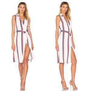 L'Academie Striped Sleeveless Wrap Dress